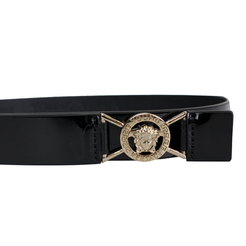 Girls Skinny Leather Belt with Small Round Medusa Head-Black