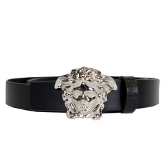 Kids Matte Leather Belt with Full Silver Medusa Head-Black