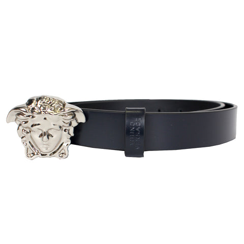 Kids Leather Belt with full Silver Medusa Head-Navy