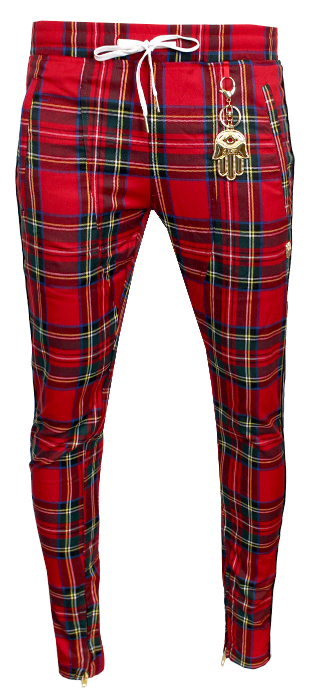 Men's Plaid Track Pants with Red and Black Stripes-Red
