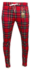 KASH Red Plaid Track Pant | Red and Black Stripe
