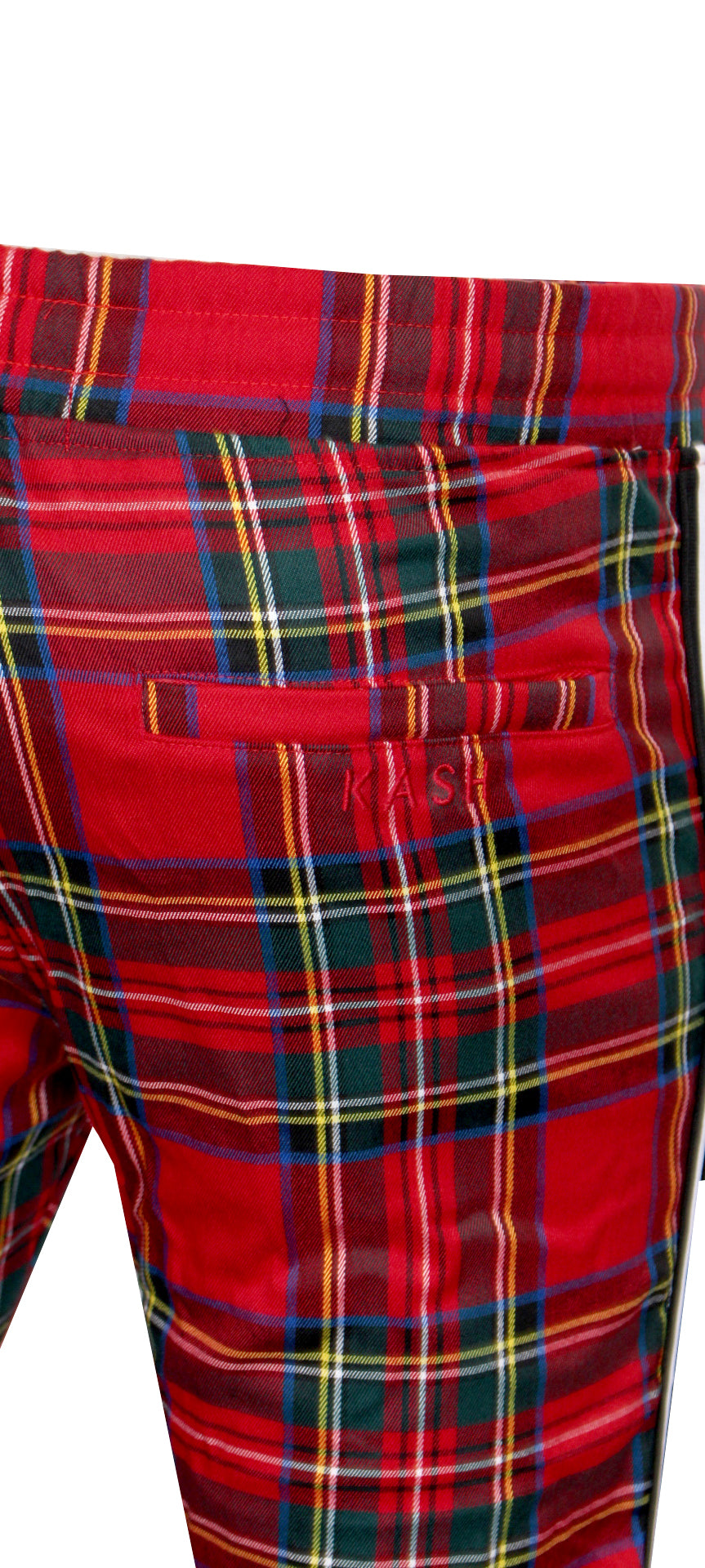 Men's Plaid Track Pants from 'Private School Collection'-Red