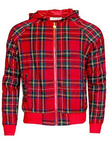 KASH Red Plaid Track Jacket | Red and Black Stripe