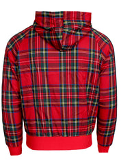 Men's Long Sleeve Plaid Track Jacket with Red and Black Stripes-Red