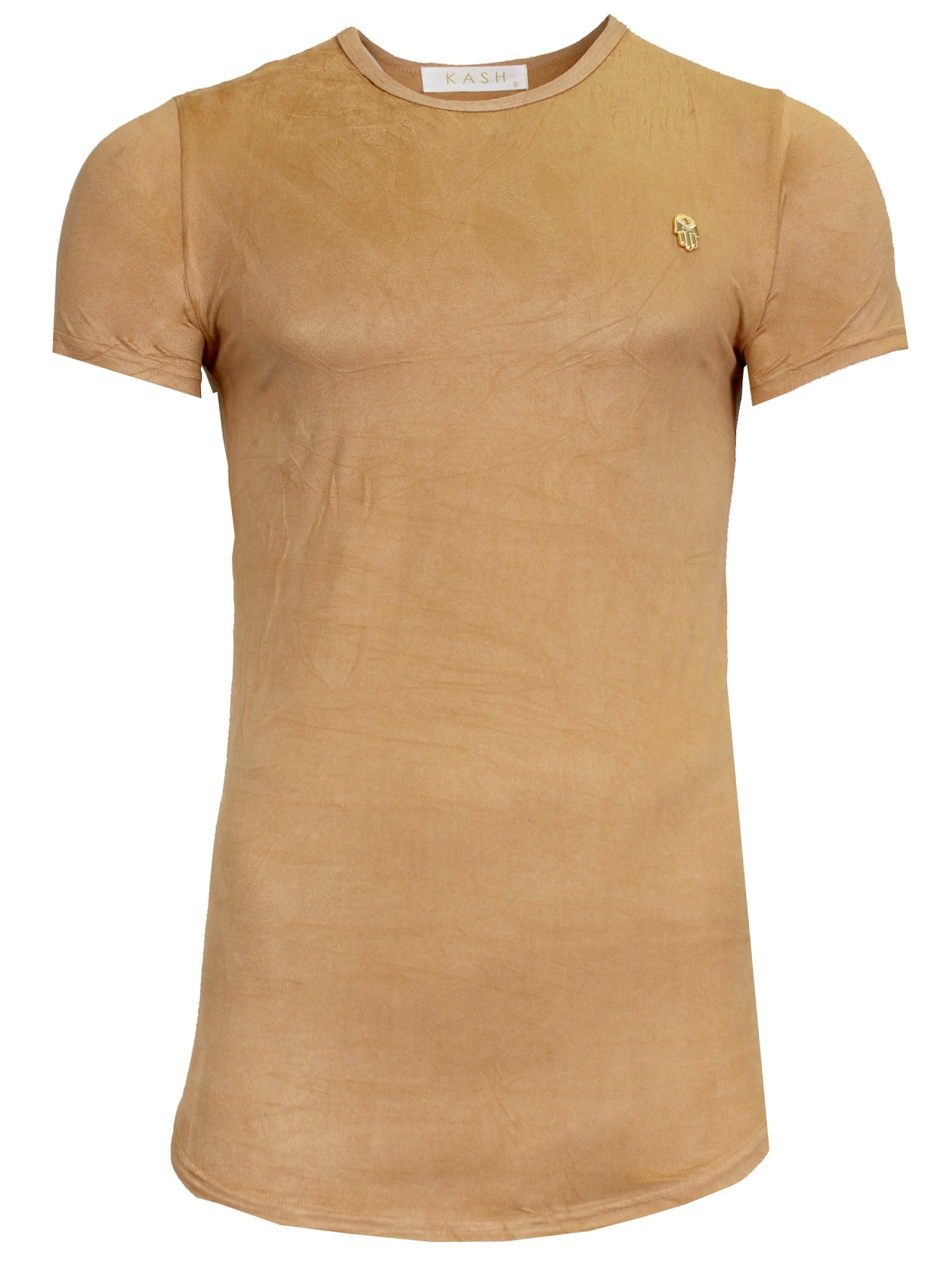 Men's 3D Hamsa Short Sleeve Crewneck Tee Shirt-Khaki