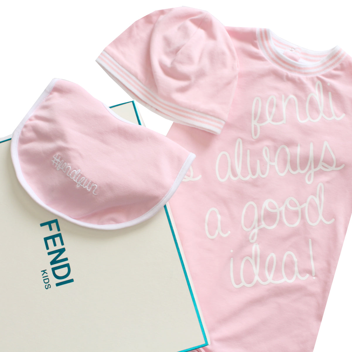 Fendi | Baby Logo Footie/Hat/Bib Gift Set