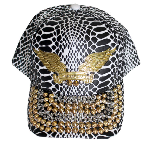 Robin's Jean Cap w/Clear Crystals SW & Gold Spikes 2 rows