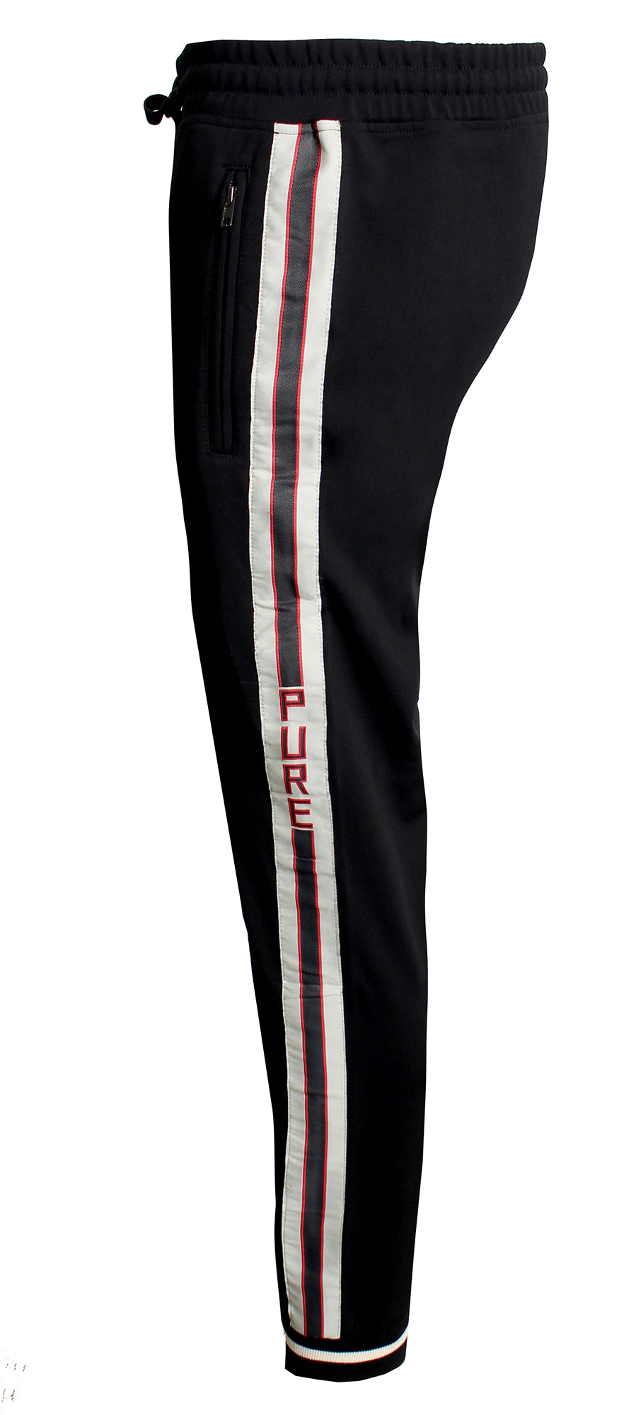 Men's Side Stripes Pure Pants-Black