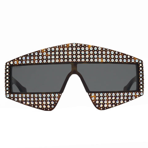 Rectangular Frame Acetate Sunglasses With Crystals