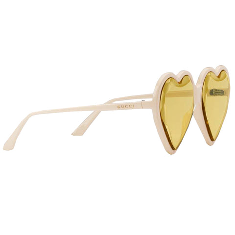 Heart Frame Acetate Sunglasses|Ivory/Yellow