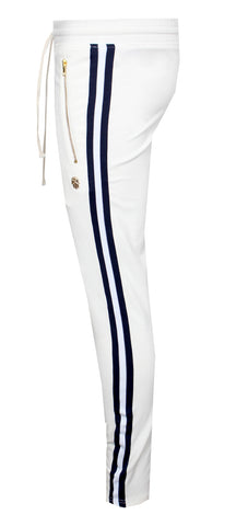 KASH Side Stripe Joggers | White