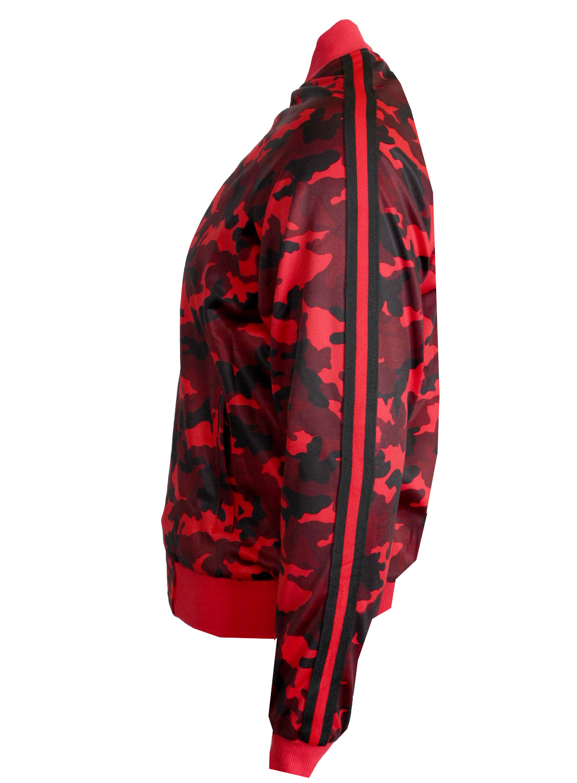 Men's Long Sleeve Camouflage Track Jacket-Red