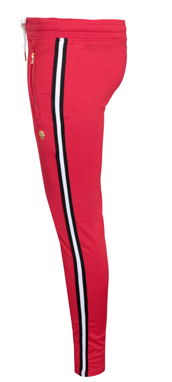 Men's AF Track Pants with Side Stripes-Red