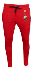 Men's Track Pants with Side Stripes-Red
