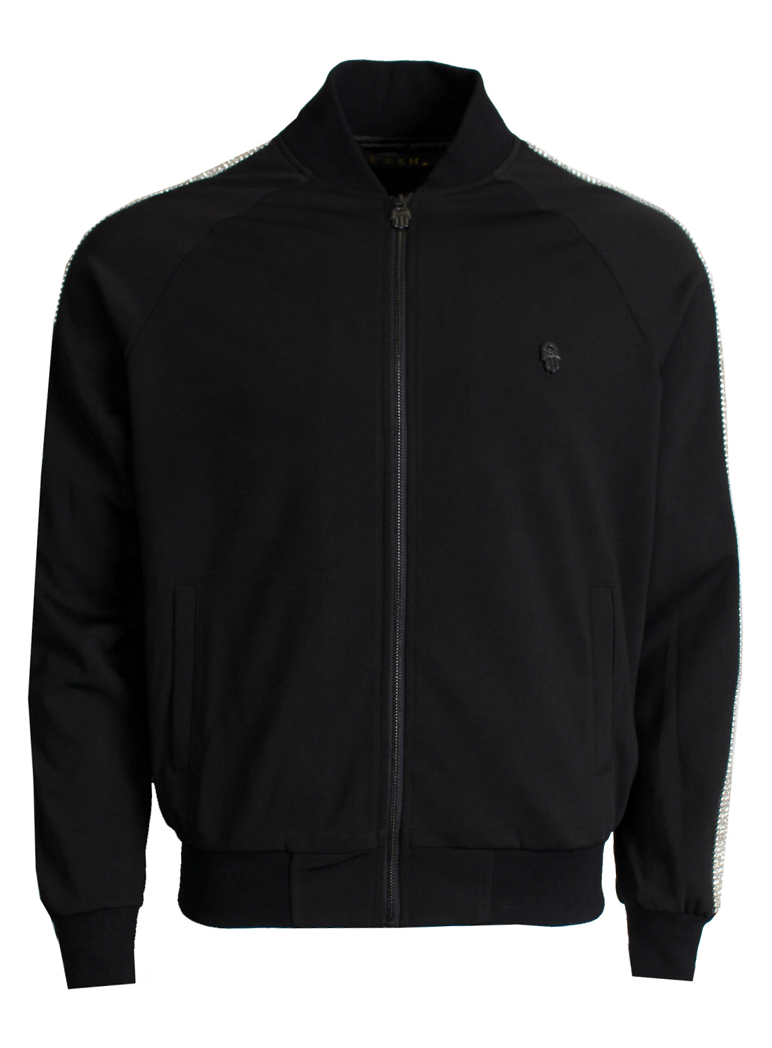 Men's Shine Collection Long Sleeve Jacket with Side Diamonds-Black