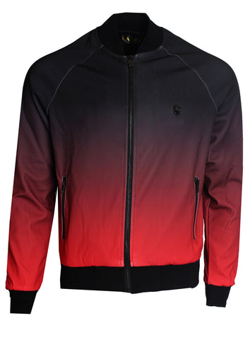 Men's Split Color Long Sleeve Track Jacket-Black and Red