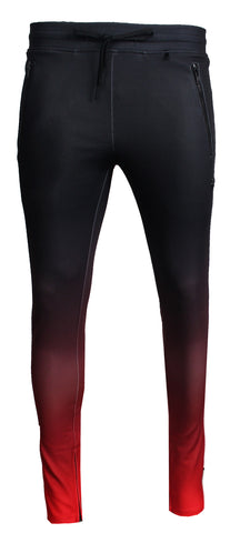 Men's Split Color Track Pants-Black and Red