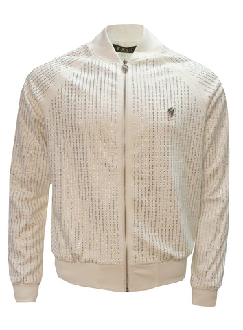 Men's Long Sleeve Diamond Jacket-White