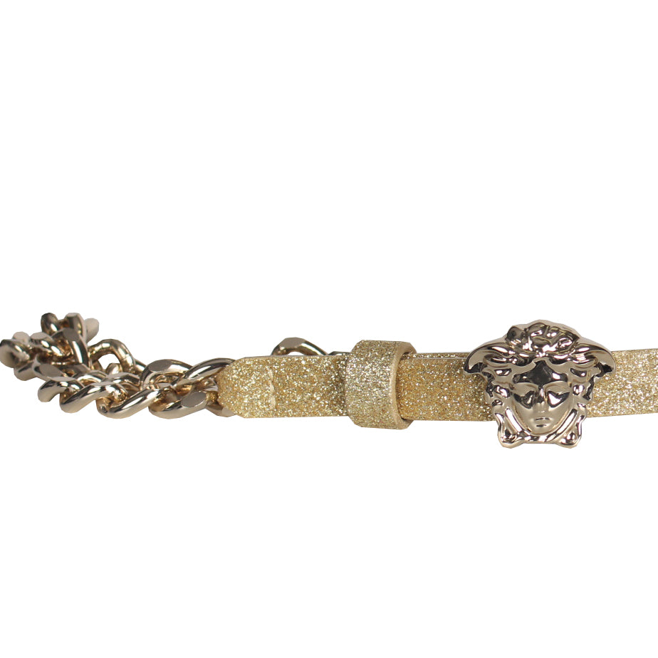 Girls Medusa Glitter Chain Belt-Gold