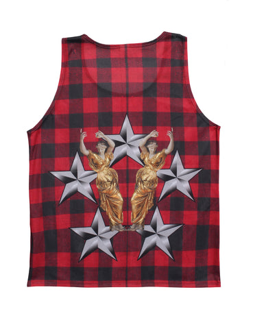 Roman Lumbar Jack Tank Top(RED PLAID)