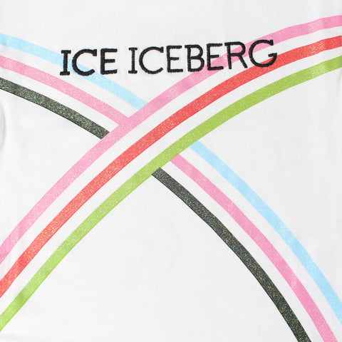 Iceberg | Girls SS Logo T-Shirt w/glittered Stripe detail