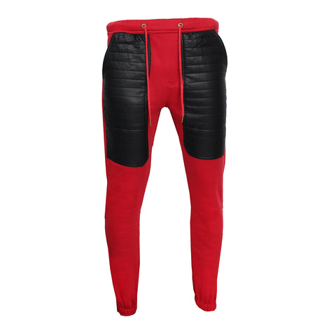 Fleece/Leather Sweatpants (RED)