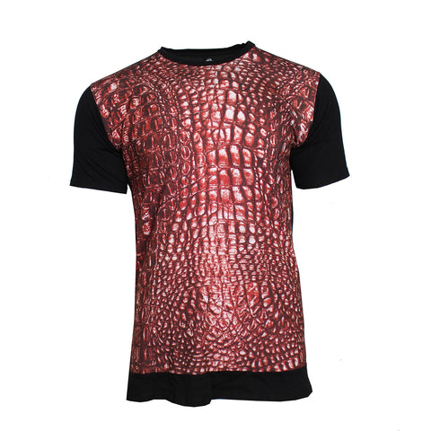Men's Gator Print Tee- Black and Red