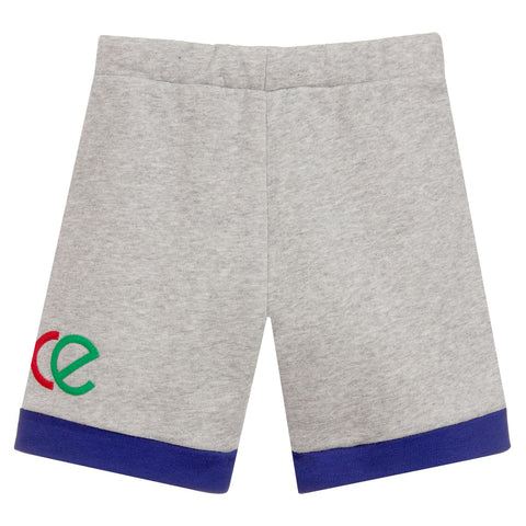 Boys Shorts With Logo Text-Grey and Blue