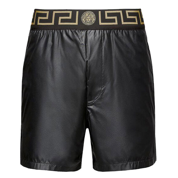 Men's Greca Print Border Swim Trunks-Black