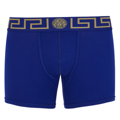 Versace Underwear Long Trunk W/Greca Border| Blue