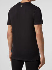 Men's Round Neck Short Sleeve Frame Tee Shirt-Black