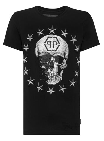 Men's Round Neck Short Sleeve Stars and Skull Tee-Black