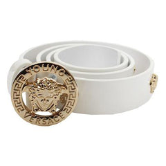 Girls Leather Belt with Gold Medusa Studs-White