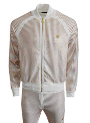 Men's Long Sleeve Gold Crystals Jacket-White