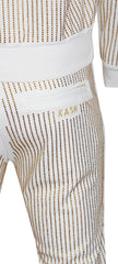Men's Gold Crystals Pants-White