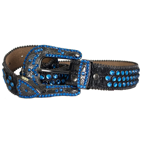 Men's Leather Belt W/Swarovski Elements-Sapphire