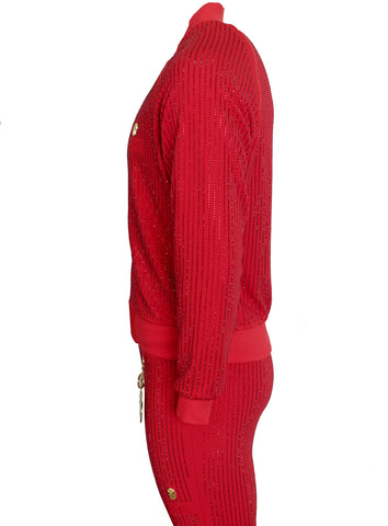 Men's Long Sleeve Diamond Jacket-Red
