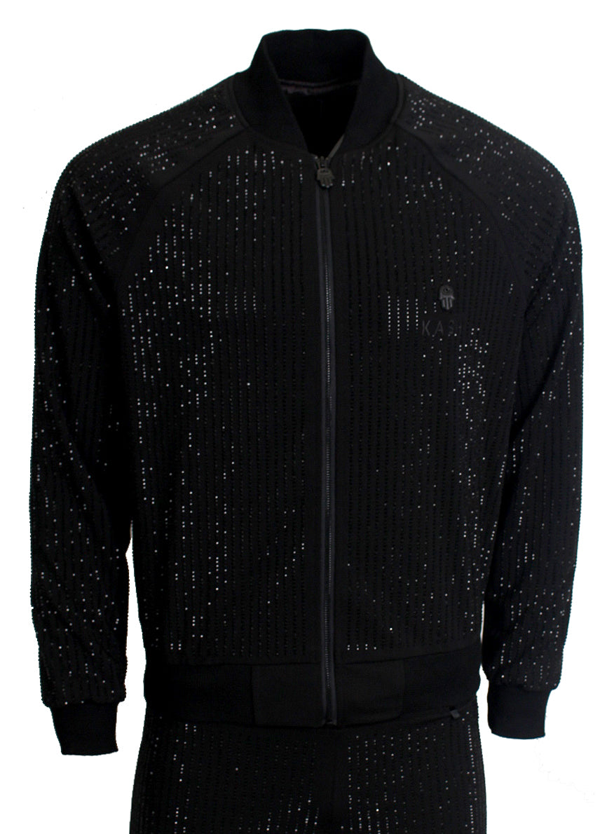 KASH | All Over Crystal Track Jacket | Black