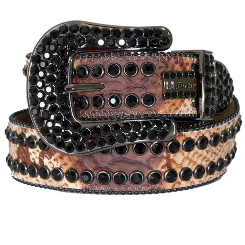 B.B Simon Belt Snake Print with 2 Rows