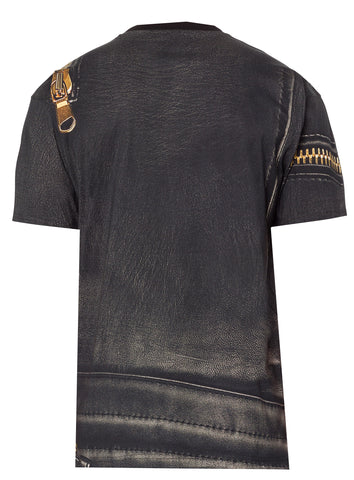 Moschino Leather Logo Tee Shirt