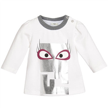 Fendi Baby Girl Long Sleeve Large Monster (White)