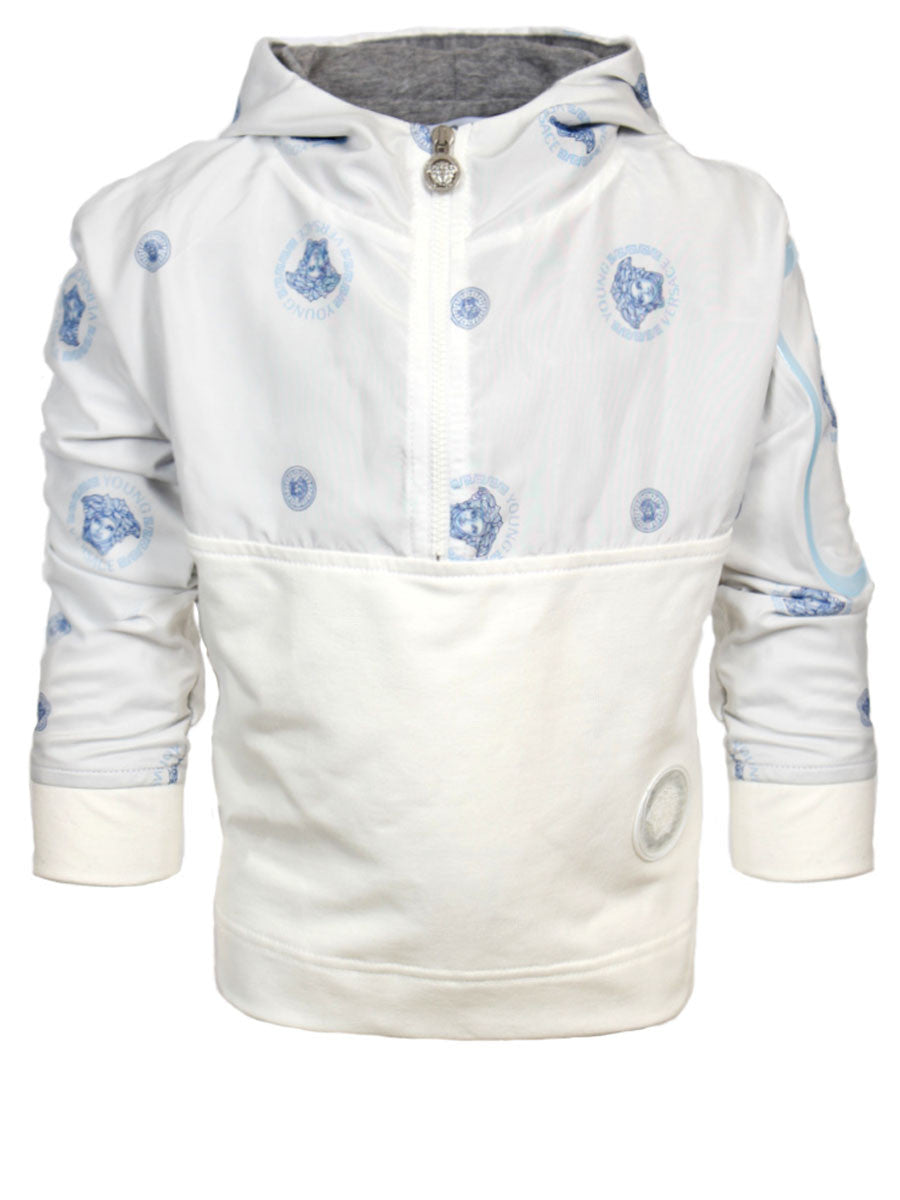 Boys Long Sleeve Half Zip Hoodie Jacket-White and Blue
