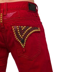 Robin's Jean Shorts In Red (Black Diamond/Gold Swarovski)