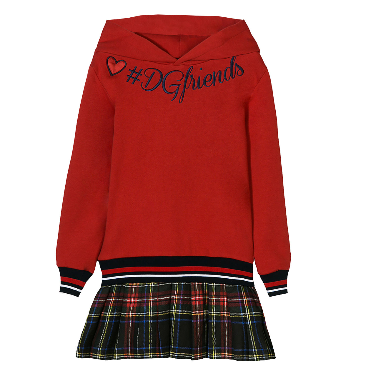 Kids-Girls Back to School Long Sleeve Dress-Red and Black