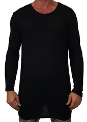 Elongated Charcoal Knit Sweater