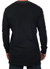 Elongated Jet Black Long Sleeve Tee