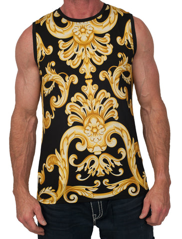 Baroque Print Gold Tank Top