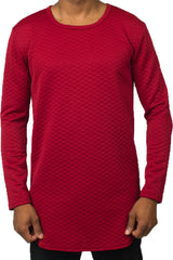 Diamond Quilt Long Sleeve Red Tunic