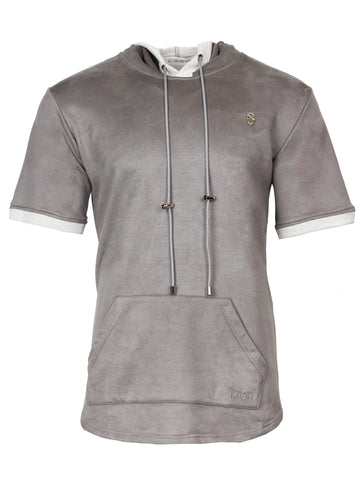 KASH Terry Suede Short Sleeve Hoodie with White Gold Accents