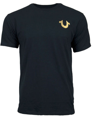 Metallic Gold Buddha Tee | Navy